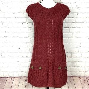 Free People Maroon Cable Knit Sweater Dress XS